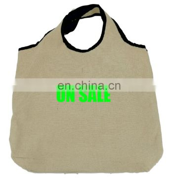 Wholesale Promotional Black Edge Handle Folding Single Shoulder Bags with Inner Pocket