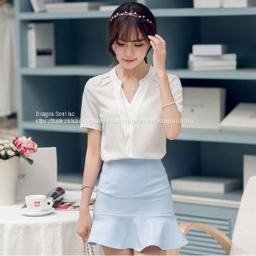 Women's Elegant Slim Casual Short Sleeve Shirts Blouses