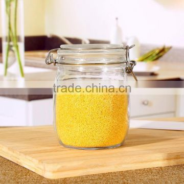 Set 3 Round Clear Glass Storage Jars with Airtight Locking Lid