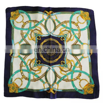 Flower Pattern Square Photo Print Knitting Silk Scarf Snood