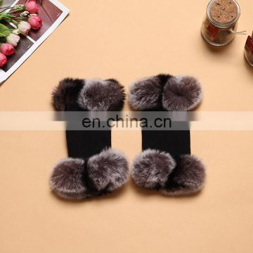 Fashion style girls ladies winter warm knitted gloves with rabbit fur