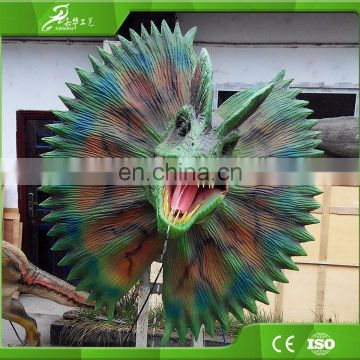 Life size animal head sculpture animatronic dinosaur head wall decoration