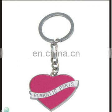 Travelling Collection New Romantic Pink PARIS Heart Enamel Keychain