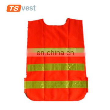 Yellow reflective strips kid safety vest with adjustable band