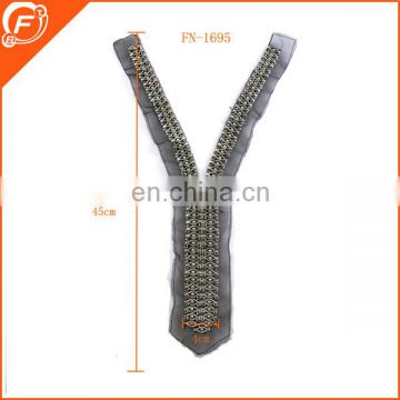 fashion zipper shape lace collar with glass beads for lady dress/gament