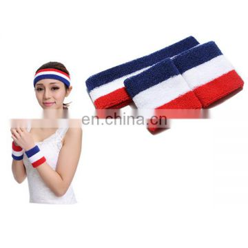 2017 Cotton Sports Absorb Sweat Wristband Set with Logo