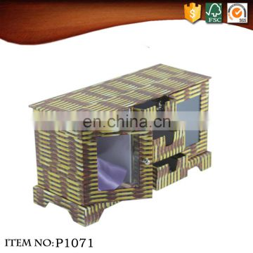 Rectangular cabinet box three drawers two grib weave bamboo decorative pattern cardboard storage box