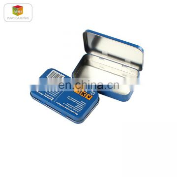 Hot sale small metal hinged lid tin box with custom design