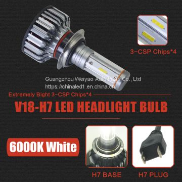 12000LM H7 LED HeadLight Bulbs  Conversion Kit 100W Full Lights High Beam 360  Degree Lighting for Car Lamp Replacement-Amber (3000K)/White(6000K)/Light-Blue(8000K)-18 months Warranty