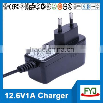 ac charger 12.6v 1a for 3S lithium rechargeable battery pack YJP-126100