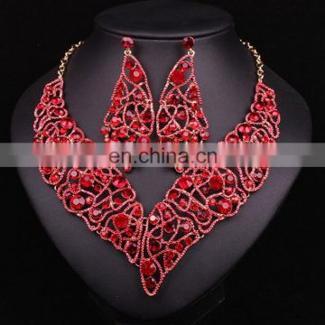 2017handmade jewelry set leaf designs\Royal bule color necklace for wedding\rhinestone earing for bride