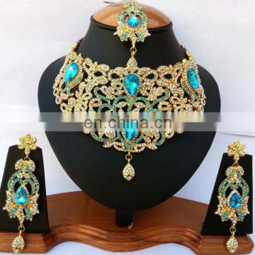 INDIAN BRIDAL DESIGNER BOLLYWOOD JEWELRY NECKLACE EARRINGS SET
