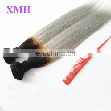 New Hot Ombre Brazilian Virgin Hair Ombre Silver Grey Hair Extension Remy Human Hair Weave