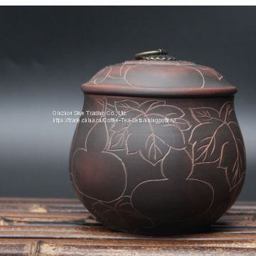 Nixing Pottery Vintage Tea Caddy Handmade Clay Tea Canister