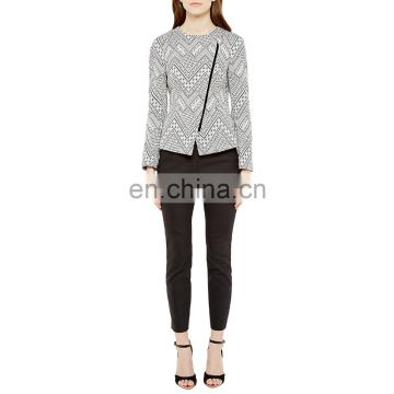 OEM ladies girl fashion flannel printed asymmetric zip jacket coat winter design custom wholesale 2016
