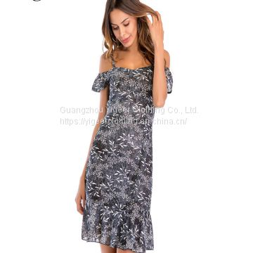 Off Shoulder Strap Floral Print Ruffle Hem Fitting Dress