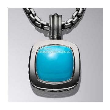 925 Silver DY Designer Inspired 14mm Turquoise Ablion Pendant Necklace