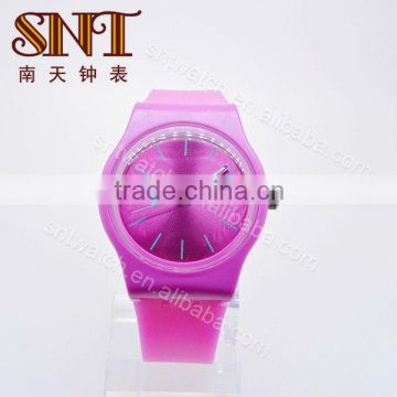 SNT-SI051B cheap silicon colorful rubber watch, unisex,customize color, PVC case,41mm diameter,rose red