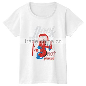 Look I'm Not Pierced GirlsHot Fix 100% Cotton Short Sleeves Cheap Wholesale TshirtS
