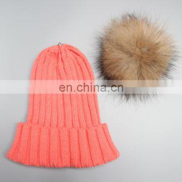 2016 popular raccoon fur ball/pom pom fashion winter hats for girl