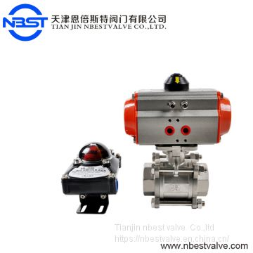 Two way stainless steel 304 pneumatic ball valve with actuator for water with best quality