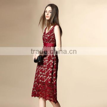 2016 factory direct sale embroidered long red dress,sexy lady lace maxi dress