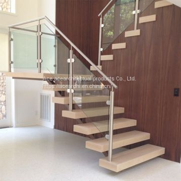 Wooden Step Single Stringer L Shape Staircase with Tempered Frameless Glass  Railing for Small Space