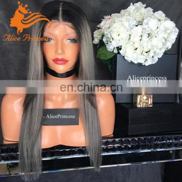 Ombre Grey Color Human Hair Lace Front Wig Silky Straight Wholesales Brazilian Human Hair Wig