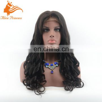 Top Quality Wholesale Cheap Natural Black Color No Tangle Long Virgin Human Hair 200% Density Full Lace Wig