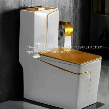 2018 good sale ceramics sanitary ware big size special square siphonic bathroom floor mounted one piece toilet
