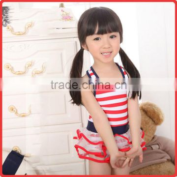 Summer Girls Fashion Beachwear Striped Nylon And PU One-piece Swimwear With Falbala Girls New Arrival Swimwear SR40416-11