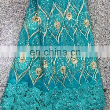 2017 High Quality Tulle Lace Fabric African Cord Guipure Lace Fabric Tulle Lace With Stones And Beads NL1452