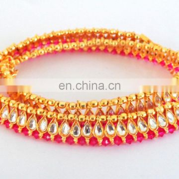 2015 Indian Traditional Gold Plated Handcrafted Kundan Anklet-Wholesale Indian Gold Plated Traditional Kundan Anklet