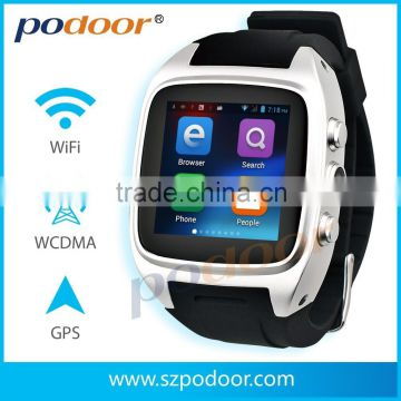 podoor wrist watch phone android watch phone, a GSM/WCDMA 3G SMS,internet,phone waterproof wrist watch phone android