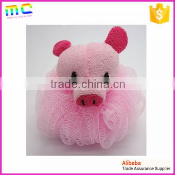 pink pig green frog yellow duck toys animals cheap baby body bath sponge mesh ball brush