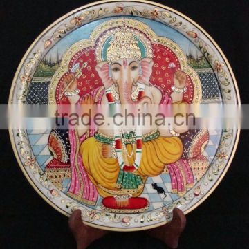 Indian Marble Thali Plate Handicraft Religious Gift Decor