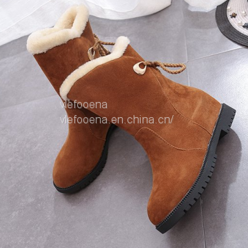 2018 winter new snow boots female flat with round lace plus casual shoes students warm cotton boots