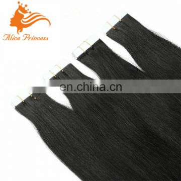 #1 Jet Black tape in human hair extensions Adhesive Skin Weft Human Hair Scotch tape extensions