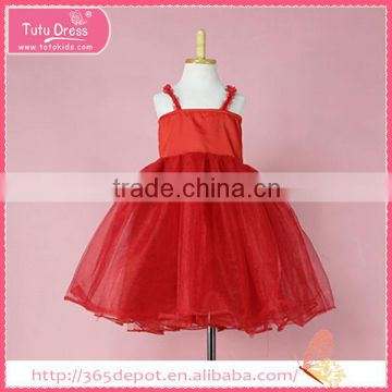 Over Knee red strapless sundress fluffy A-Line ball gown dress children frocks designs                                                                                                         Supplier's Choice