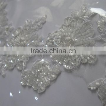 Sparkling beads and sequins decoration bridal lace fabric/white iron on appliques/border lace trim