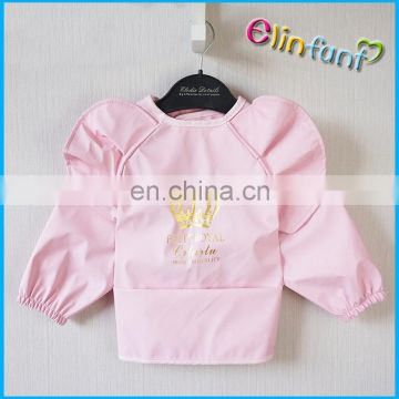 Elinfant children drawing waterproof easy-to-clean PU long bibs