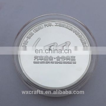 silver plated custom metal coin, personalized metal coin