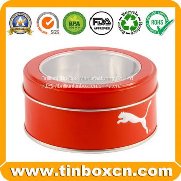 Embossed/Transparent Window  Round Tin Box