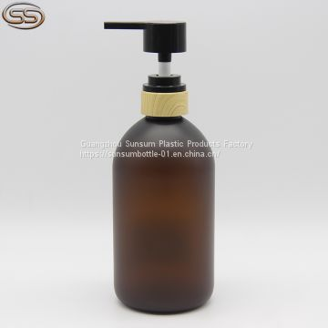 Hot Sales 500ml Amber Frosted Plastic Shampoo Bottle with Bamboo Lotion Pump