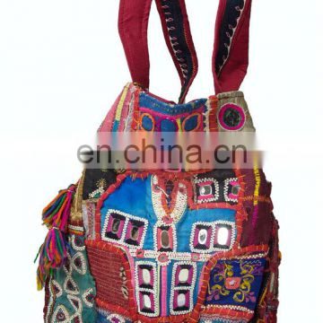 Large Banjara Gypsy Embroidered Boho Vintage Mirrored Patchwork Handmade Indian Hippie Retro Coins Cowrie Women Purse Tote Hand
