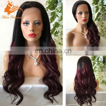 Soft Feeling Natural Hairline Lace Wig Ombre Color Wave Human Hair Dreadlocks Wig Virgin Brazilian Hair Lace Front Wig