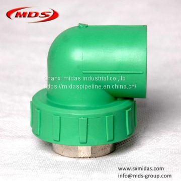 Chinese factory plastic water pipe connectors green Din standard ppr pipe fittings