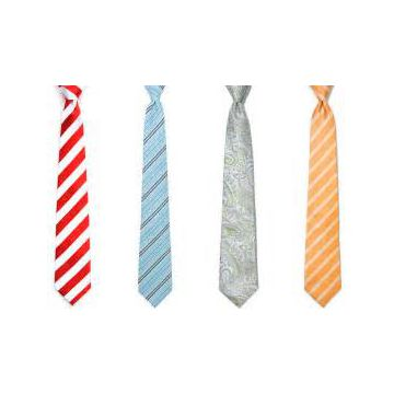 Handmade Plain Silk Woven Neckties Striped Orange