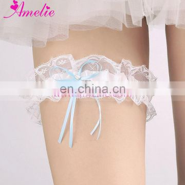 Romantic Marriage Ceremony Vintage Lace Satin Garter With Baby Blue Ribbon Bow Decorative Rhinestone Wedding Garters Accessories