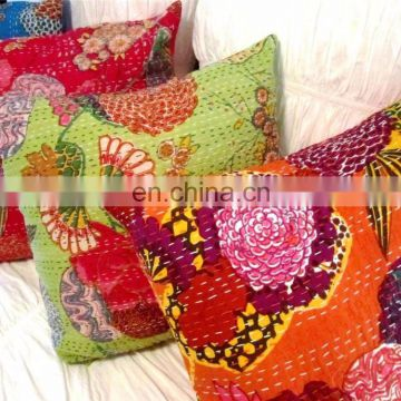 "16"" Indian Handmade Embroidery Work Kantha Cushion Pillow Cover Throw floral kantha Home Decorative Traditional ethnic art"